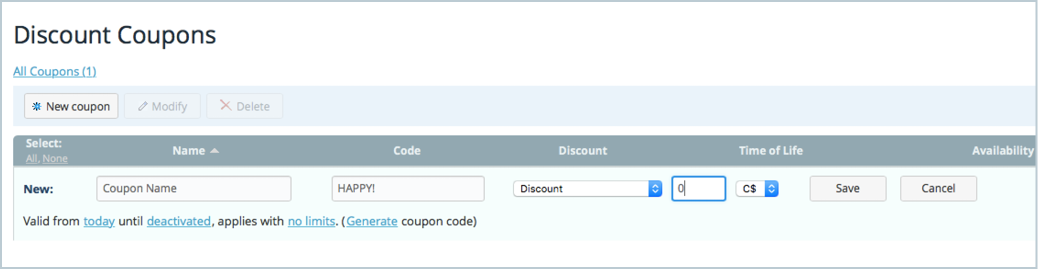 Ecwid e commerce widgets ecwid 101 how to create an online store you may choose the number of uses for your offer unlimited once per customer or single use you may also choose to limit the use of your coupon code by fandeluxe Gallery