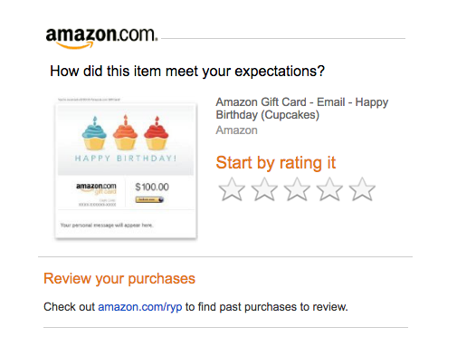 Amazon trigger email offers to rate your purchase right after you bought the product