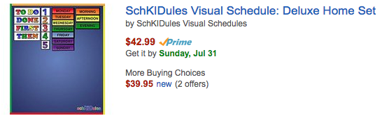 Kids Visual Schedule on Amazon.com