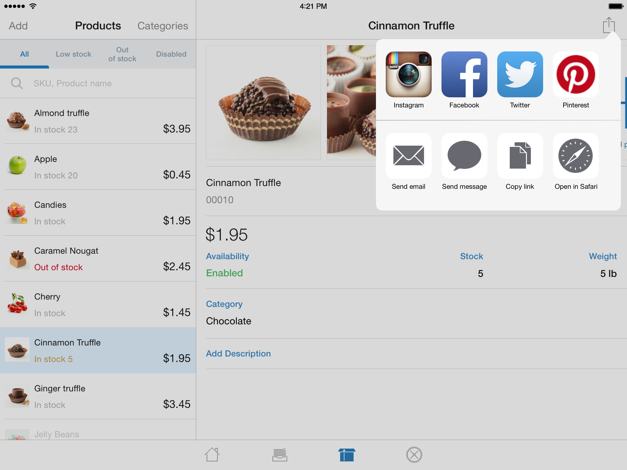 Ecwid Mobile for posting products on Instagram