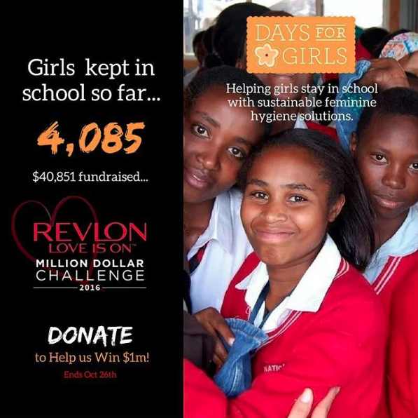 "Days for Girls was a standout in the 2016 Revlon ""Love is on Million Dollar Challenge"""