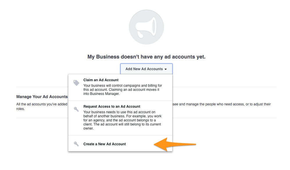 Add new add account to Facebook Business Manager