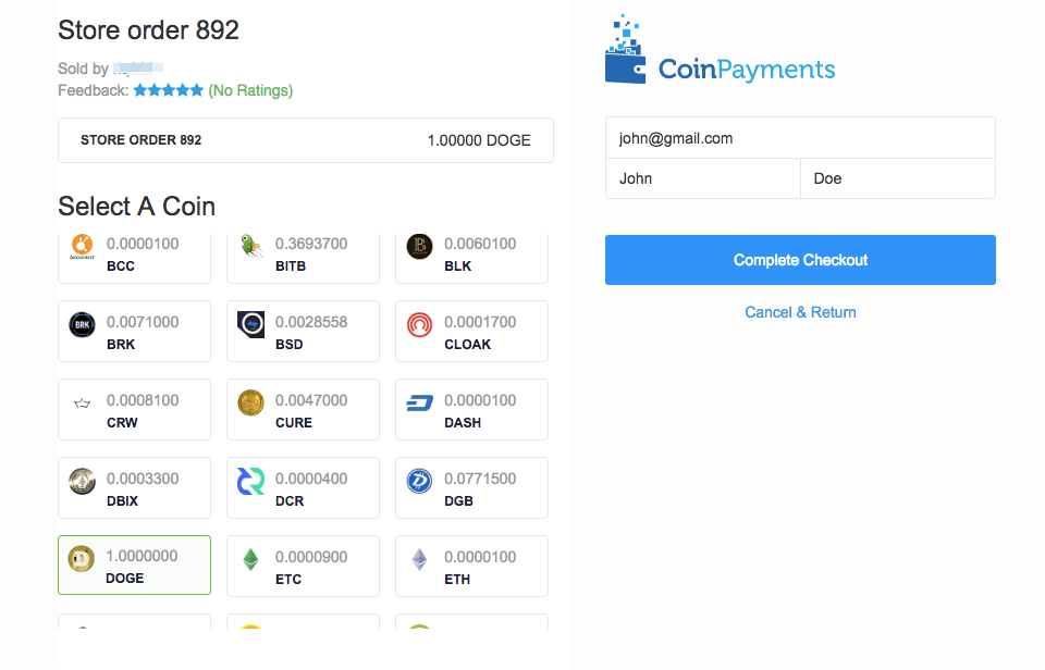 Payment page in CoinPayments