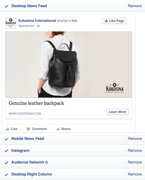 Kokosina Ad on Facebook