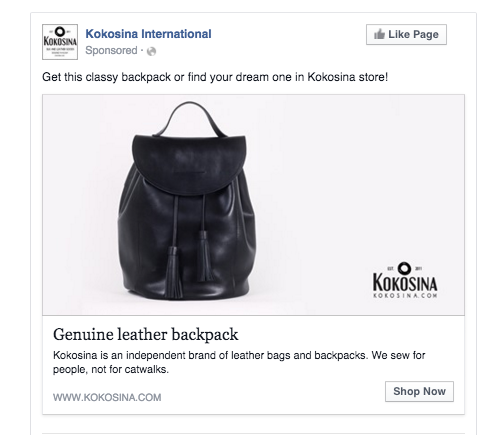 Facebook ads escaparate