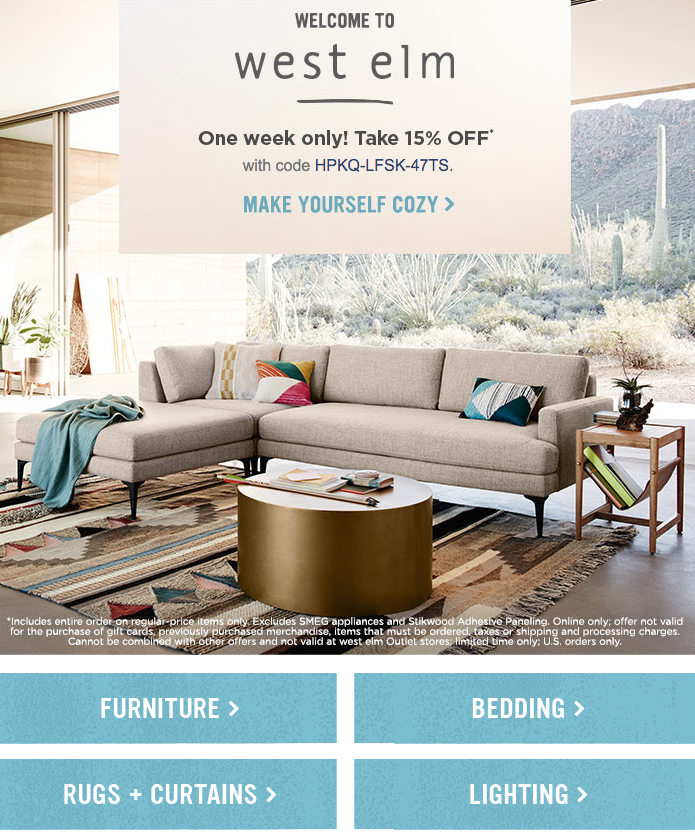 Welcome email West Elm