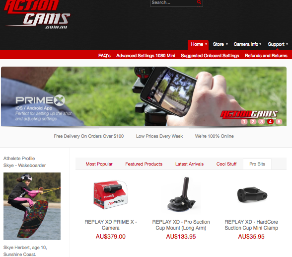 example of products embedded on the actioncams homepage