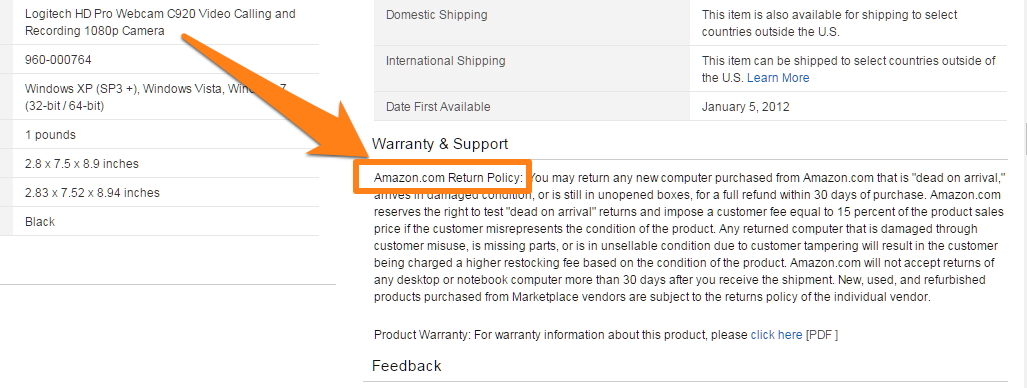politica di rimpatrio Amazon