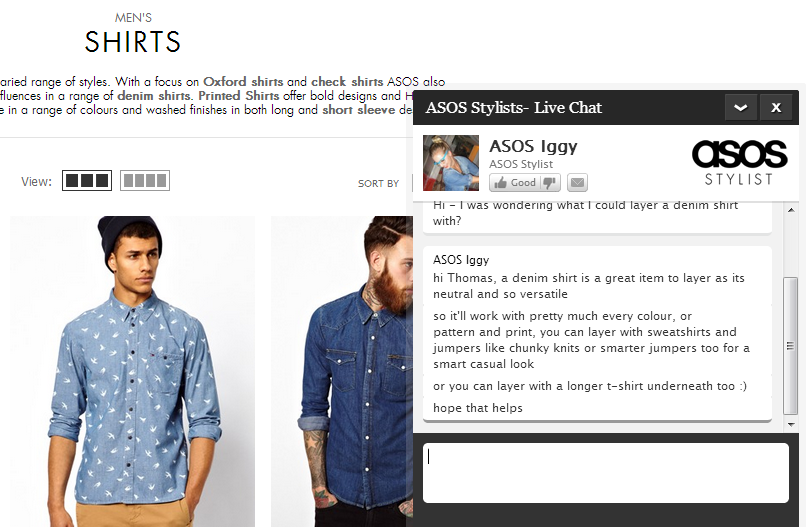 Live Chat on Asos