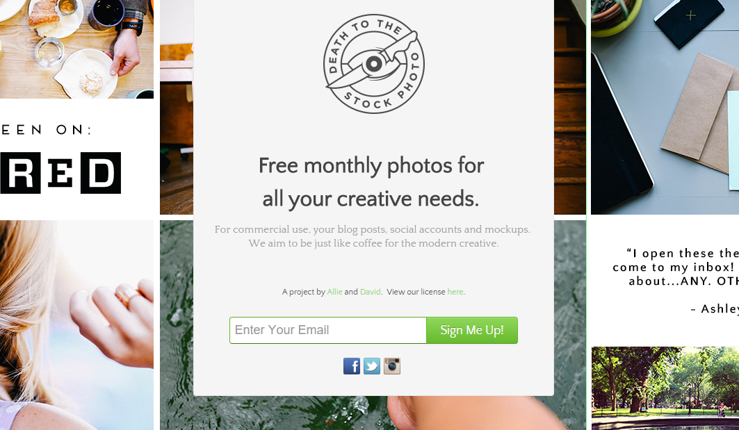 Three free photo per month from Deathtothestockphoto.com