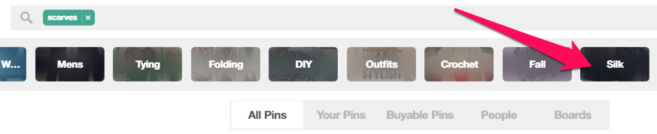 """Guided Search"" knoppen aan de bovenkant van Pinterest"