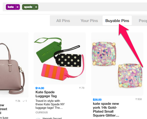 """Buyable Pins"" in het menu bovenaan op Pinterest"