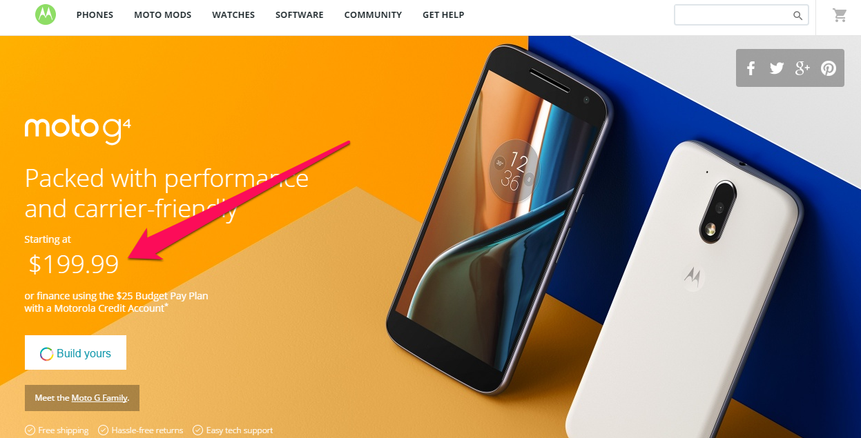 Motorola mentions the price as soon as you land on the site