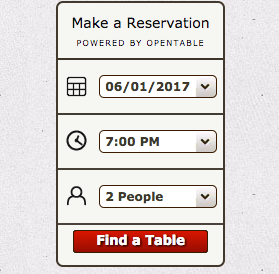 Fisherman's Restaurant, the reservation form