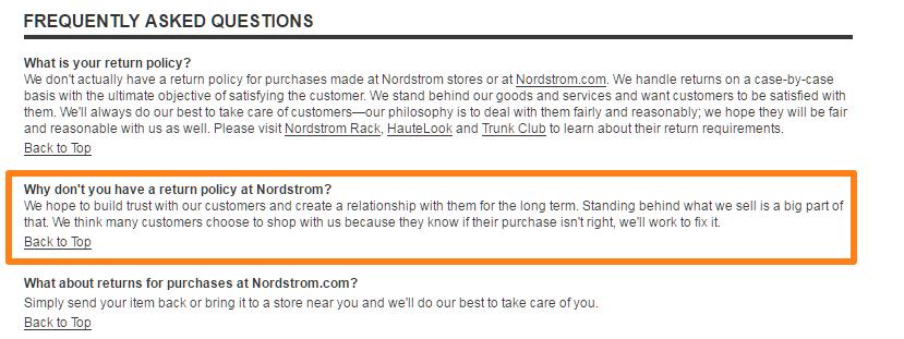 politica di rimpatrio Nordstrom