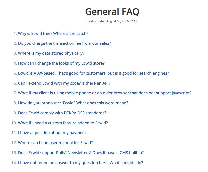 FAQ de Ecwid