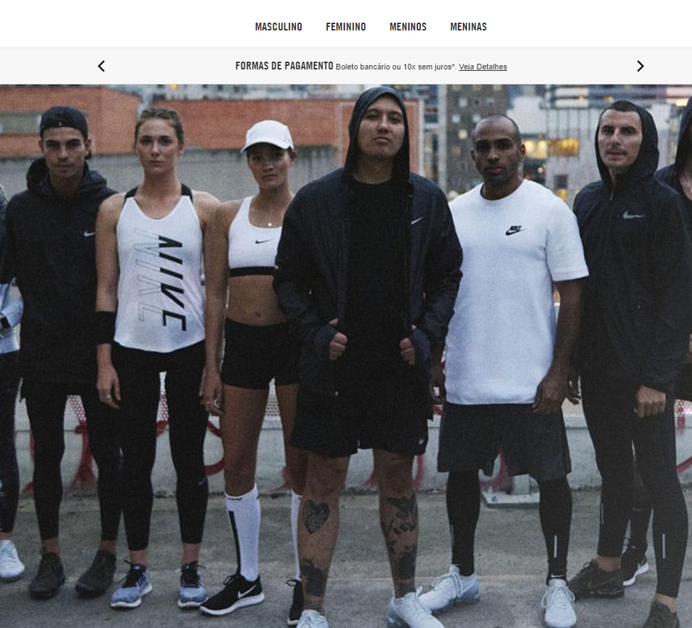 Braziliaanse website van Nike