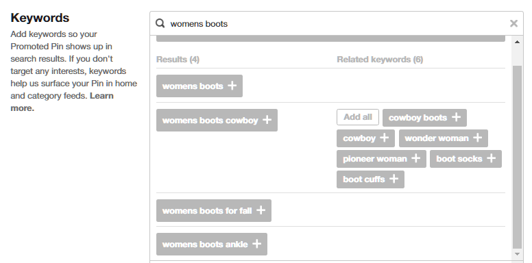 Pinterest Ads: Related keywords