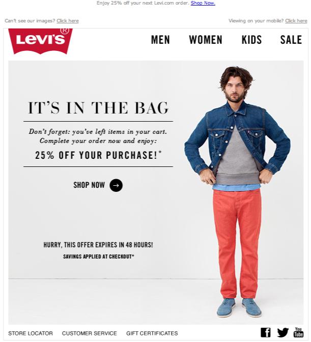 Verlassene Warenkorb E-Mail-levis