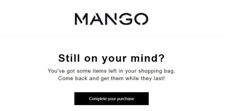 Abbandonato carrello e-mail di mango