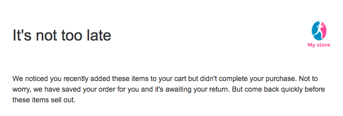 Abandoned cart email sample