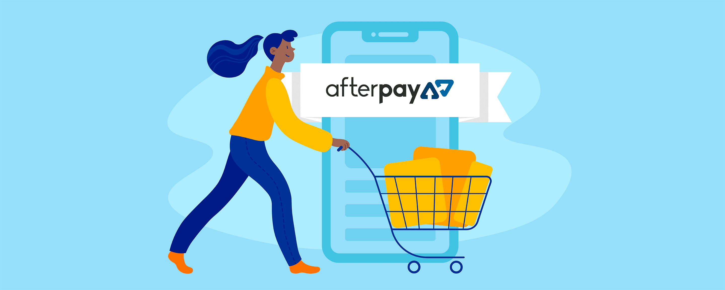 This is a cover image for the blog post on the Ecwid blog that announces Ecwid's integration with Afterpay, a popular Australian buy now, pay later provider