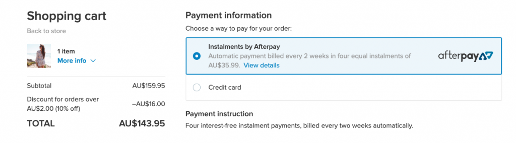 Cette image montre l'option de paiement Afterpay à la caisse d'un magasin Ecwid. Afterpay est un achat populaire maintenant, payer plus tard fournisseur de paiement est originaire d'Australie.