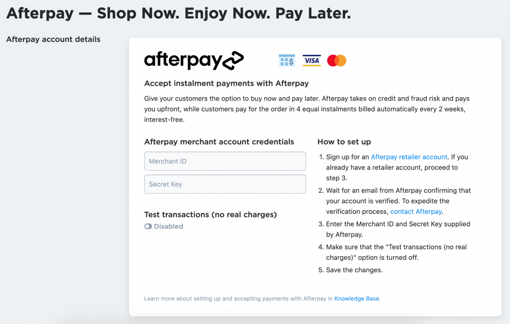 This screenshot shows Afterpay setup in Ecwid Control panel