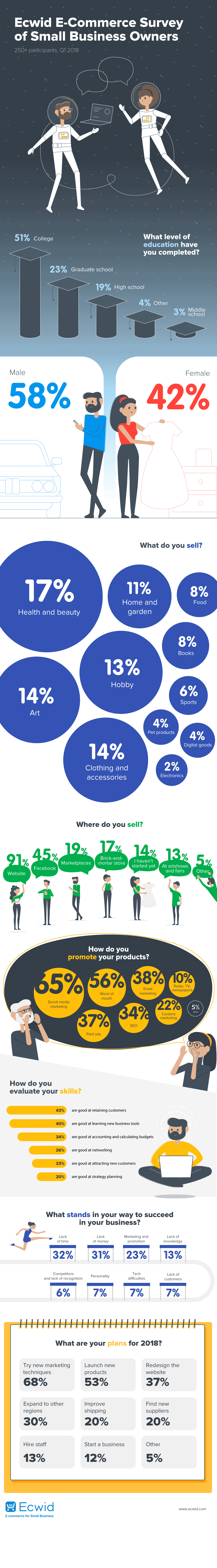 Infografik: Erkenntnisse aus Ecwid E-Commerce Survey of 250+ Small Business Owners