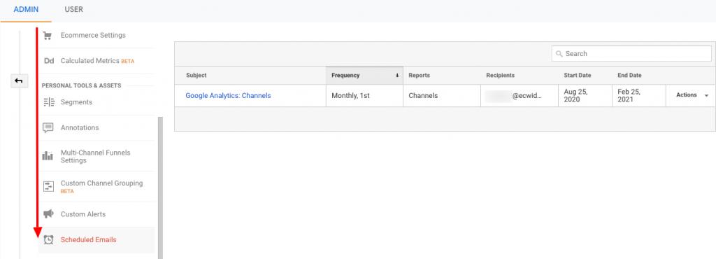 Edit atau hapus email terjadwal di Google Analytics