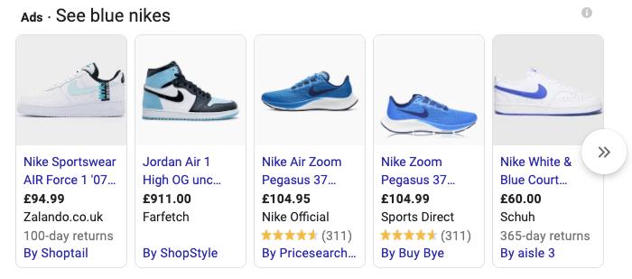 Blue Nikes - Google Shopping