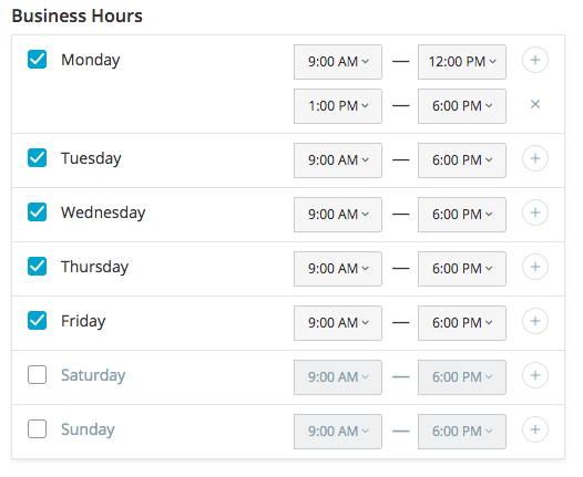 Business hours for pickup in Ecwid