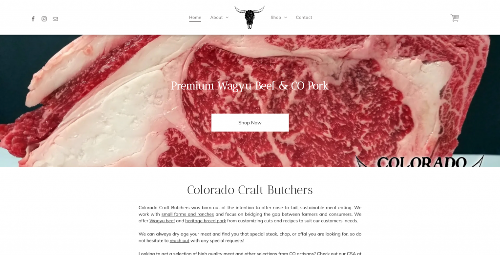 Negozio Ecwid di Colorado Craft Butchers