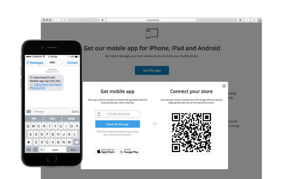 Connect Ecwid Mobile to online store