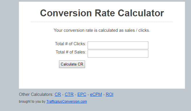 calcolatore di tasso di conversione, Trafficplusconversion.com