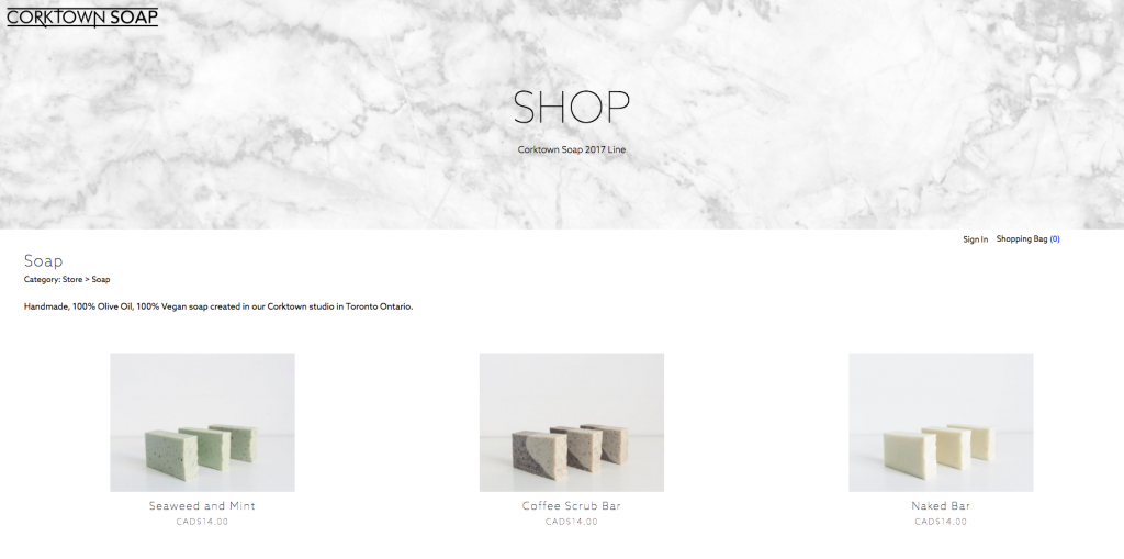 Corktown Soap Online-Shop (Ecwid + Adobe Muse)