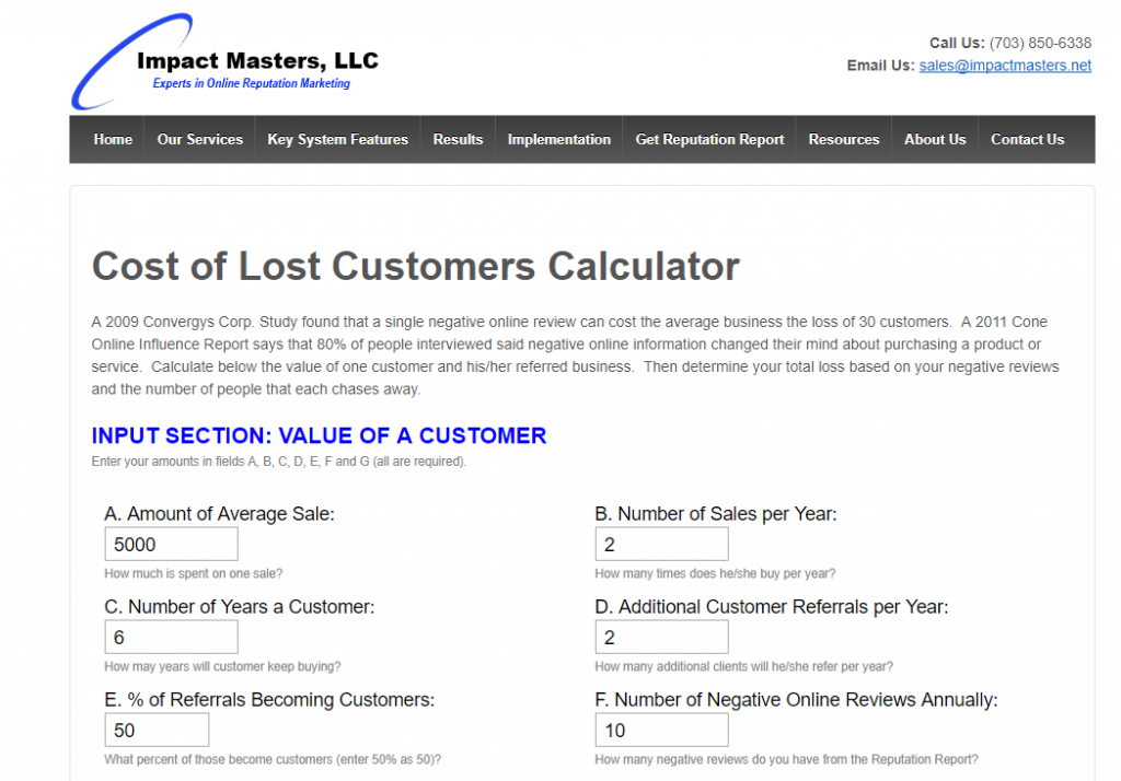 Cost of lost customers calculator, Impact Masters
