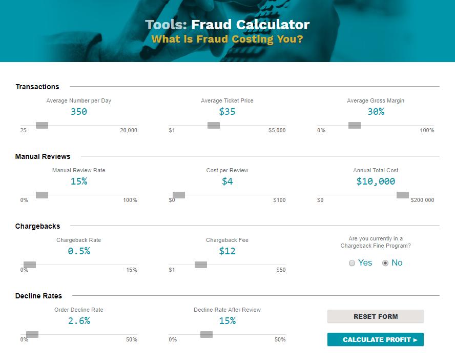 Credit card fraud cost calculator, Kount