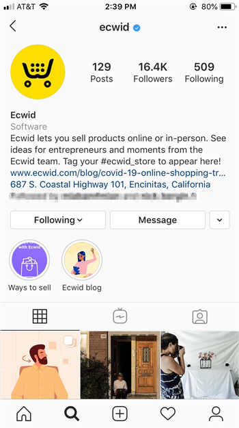 Go to the IG profile page of the account or brand and tap message