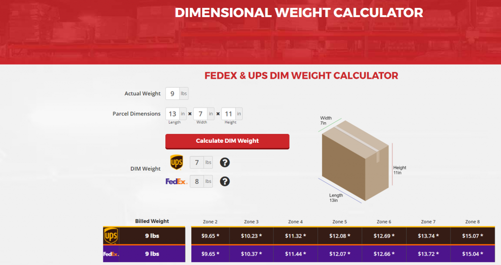 DIM Gewicht calculator, RSF