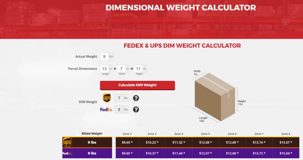 DIM Weight calculator, RSF