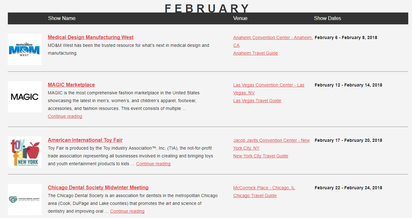 Use the trade show calendar to find shows that cover your industry