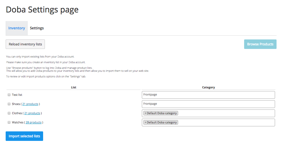 Doba settings page in Ecwid