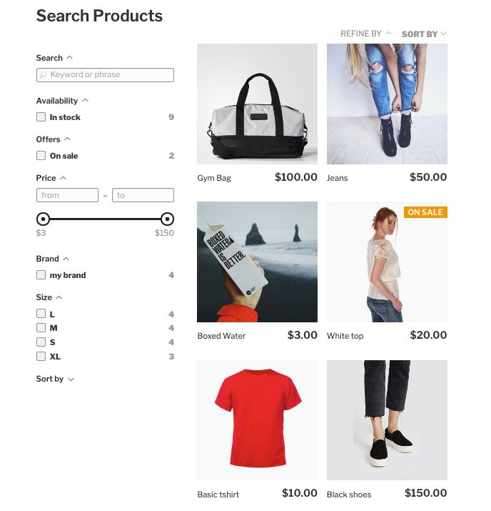 Ecommerce block for wordpress editor