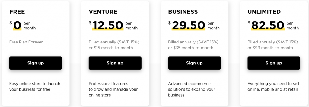 Ecwid pricing plans