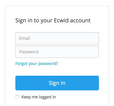 Ecwid, Ecwid control panel, login