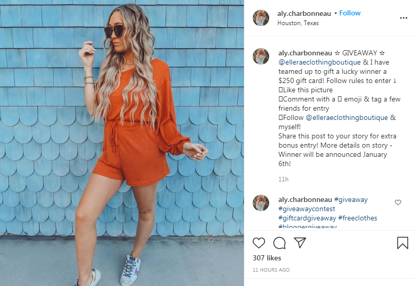 Elle Rae Boutique partnered with a fashion influencer, Aly