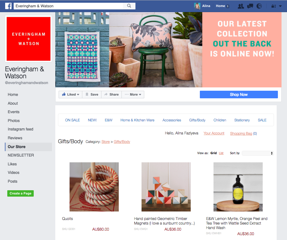 Everingham & Watson Facebook Shop on Ecwid