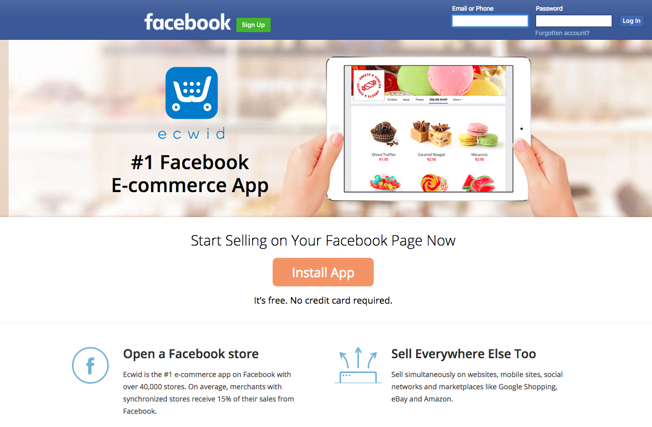 Sell online on Facebook with Ecwid app