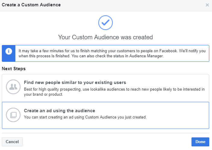 Custom audience Facebook